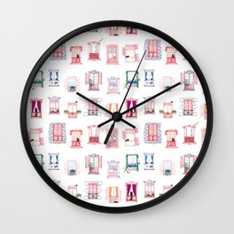 Stay home, stay safe - Rome windows and balcony pattern Wall Clock