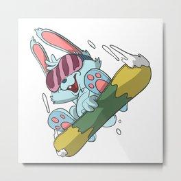 Mountain rabbit on snowboard Metal Print