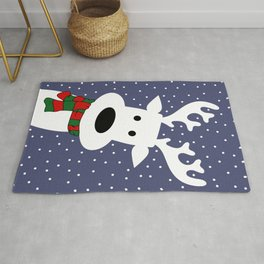 Reindeer in a snowy day (blue) Rug