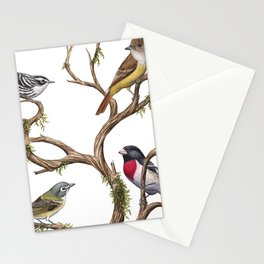 Four Songbirds Stationery Cards