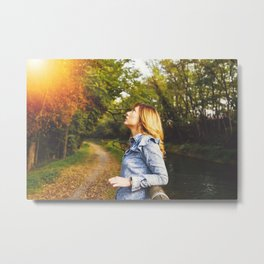 Lovely young woman in the Natural Park of Ticino Metal Print
