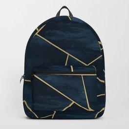 Dark Midnight Navy Blue Gold Geometric Glam #1 #geo #decor #art Backpack