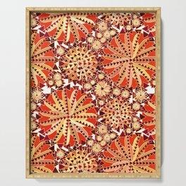 Tribal Mandala Print, Rust Orange and Brown Serving Tray