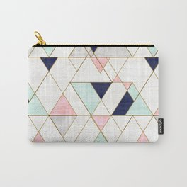 Mod Triangles - Navy Blush Mint Carry-All Pouch