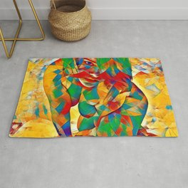 3334s-SRC Abstract Woman with Blue Eyes Rendered in Color and Style Rug