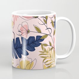 Pink and Blue Flowers Pattern Coffee Mug