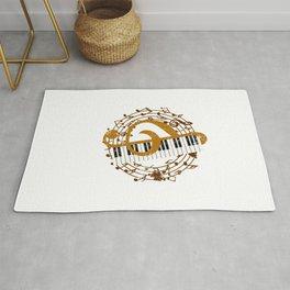 Retro Treble And Clef Piano Rug