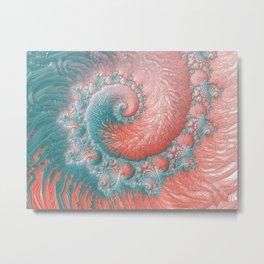 Living Coral Teal Blue Spiral Swirl Pattern Abstract Coral Reef Fractal Metal Print