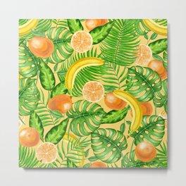 Tangerines, bananas and tropical leaves Metal Print