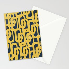Mustard Yellow and Navy Blue Mid-Century Modern Loop Pattern Stationery Cards