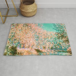 Monet : Bend in the River Epte 1888 peach teal Rug