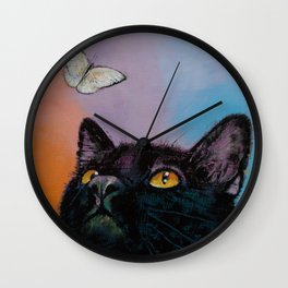 Black Cat Butterfly Wall Clock