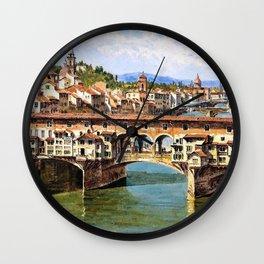 Antonietta Brandeis - Ponte Vecchio To Florence - Digital Remastered Edition Wall Clock