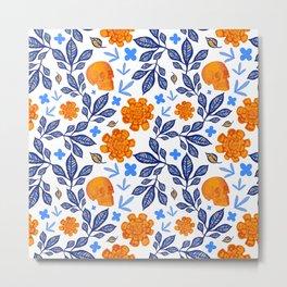 Blue and Orange Floral Print with Skulls Metal Print