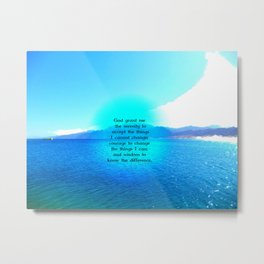 Serenity Prayer With Blue Ocean and Amazing Sky Metal Print
