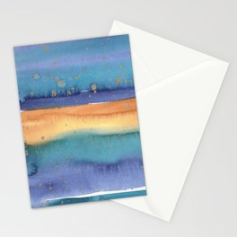 Abstract Watercolor Painting in Turquoise, Blue und Ocker With Copper Splashes Stationery Cards