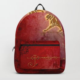Golden lion on vintage background Backpack
