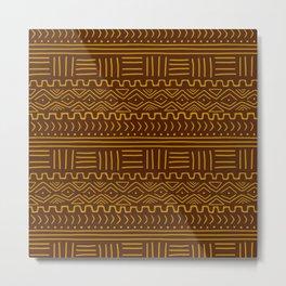 Mud Cloth on Brown Metal Print