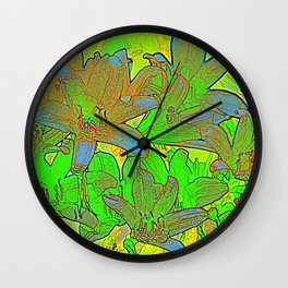 Lilien-Aquarell Wall Clock