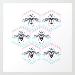 Queen Bee Cool Colors Art Print