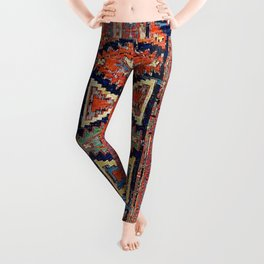 Southwestern Farmhouse II // 19th Century Colorful Red Yellow Blue Green Aztec Farm Stars Pattern Leggings