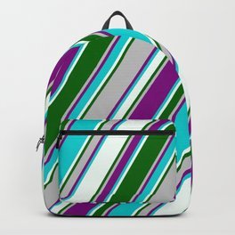 Colorful Grey, Purple, Dark Turquoise, Mint Cream & Dark Green Colored Pattern of Stripes Backpack