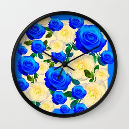 DECORATIVE WHITE & BLUE ROSES GARDEN ART DESIGN Wall Clock