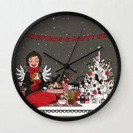 Lily celebrates Christmas Eve with a Picnic Wall Clock