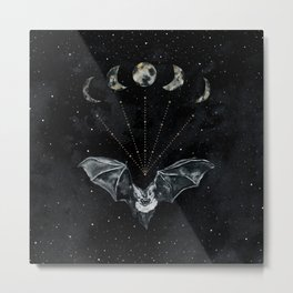 Bat and Moon Phases, Black Gold, Celestial Stars Witchy Metal Print