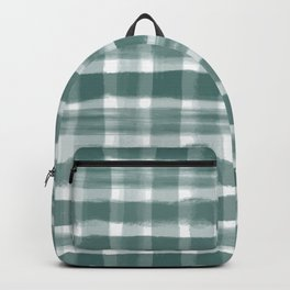 Watercolor Brushstroke Plaid Pattern Pantone Forest Biome 19-5230 Backpack