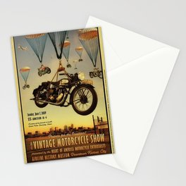 Vintage Motorcycle Show Parachute Advertising Poster Stationery Cards
