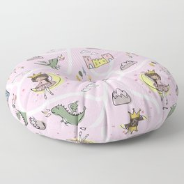 Childish seamless pattern with princess and dragon Floor Pillow