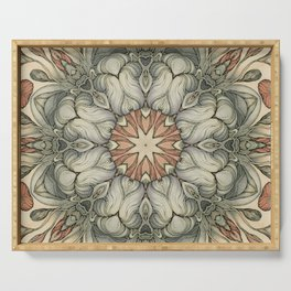 abstract flowers hand drawn and  kaleidoscope mandala Serving Tray