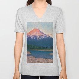 Mt. FUJI FUJIKAWA - Kawase Hasui Unisex V-Neck