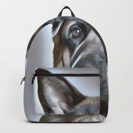 German Shepherd lovers- portrait of a beautiful German Shepherd Backpack