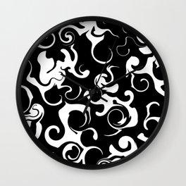 Black white swirl  Wall Clock