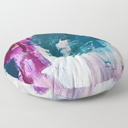 Complexity: a pretty abstract mixed-media piece in teal and purple by Alyssa Hamilton Art Floor Pillow