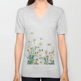 white margaret daisy horizontal watercolor painting Unisex V-Neck