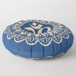 Blue and Gold Ohm Mandala Floor Pillow