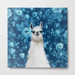 Blue Llama Painting Metal Print
