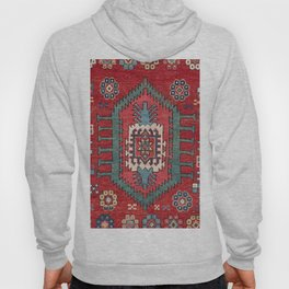 Tribal Honeycomb Palmette IV // 19th Century Authentic Colorful Red Flower Accent Pattern Hoody