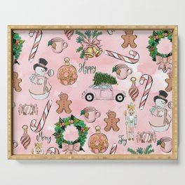 THE VERY PINK CHRISTMAS WATERCOLOR PATTERN Serving Tray