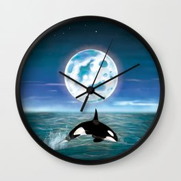 Orca swimming by the moonlight  Wall Clock