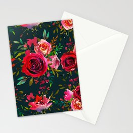 Watercolor autumn dark red roses on petrol I Stationery Cards