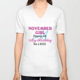 November Girl Birthday Unisex V-Neck