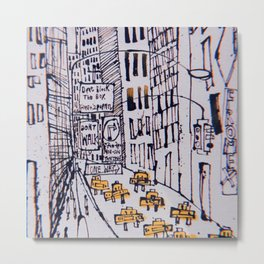 Retro New York City Sketch Metal Print