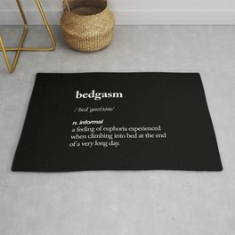 Bedgasm funny meme dictionary definition modern black and white typography home room wall decor Rug