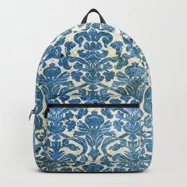 Vintage Antique Blue Wallpaper Pattern Backpack