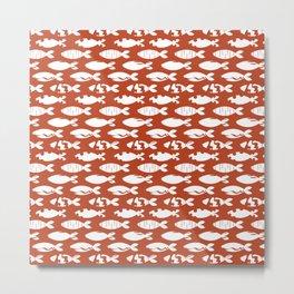White Fish on Terracotta Metal Print