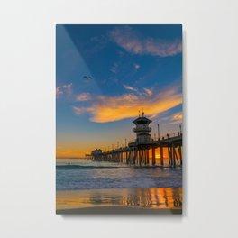 Huntington Beach Seagull Sunset Metal Print